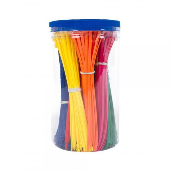 Kabelbinder-Box - 9 x 50 Stück, 4.8mm x 200mm, verschiedene Farben